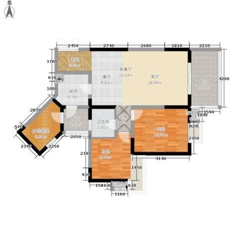 巴国公馆2室1厅1卫1厨105.00㎡户型图