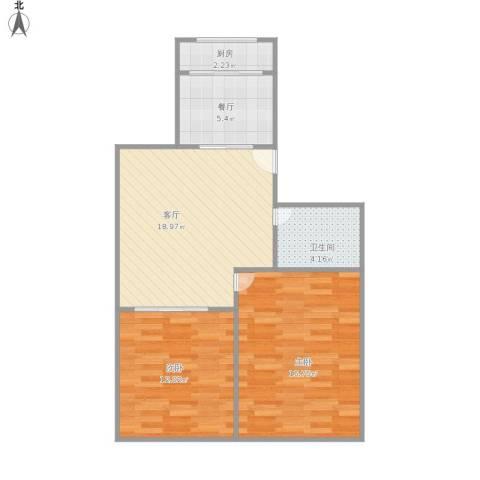 迎春小区2室2厅1卫1厨80.00㎡户型图