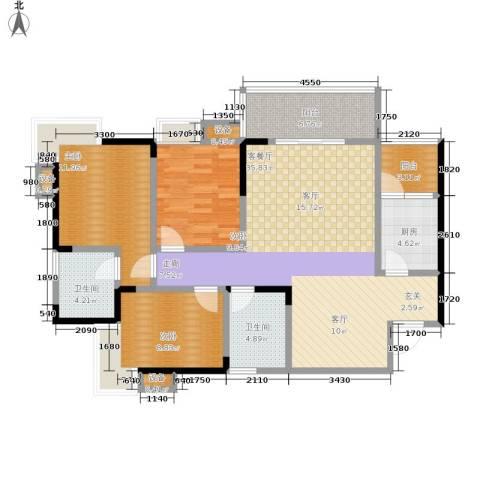 彩云小城3室1厅2卫1厨95.00㎡户型图