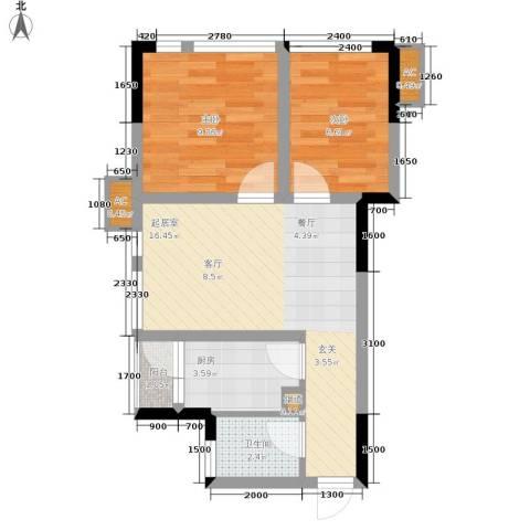 北城国际中心2室0厅1卫1厨45.00㎡户型图