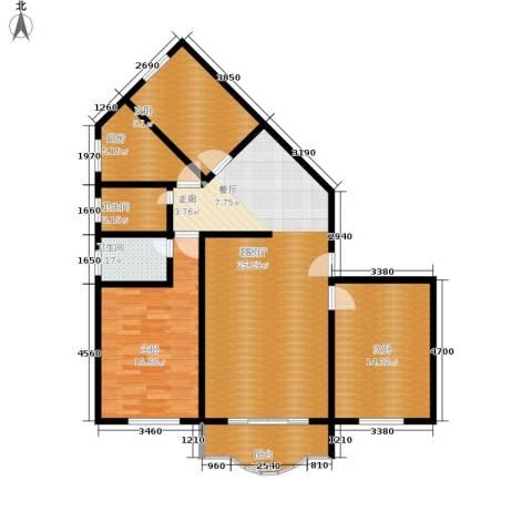 顺通花园3室1厅2卫1厨105.00㎡户型图