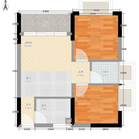 平安怡和园2室0厅1卫1厨57.00㎡户型图