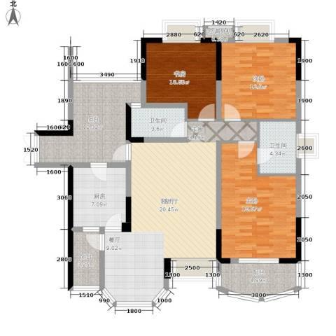 长安麒麟公馆3室1厅2卫1厨108.94㎡户型图