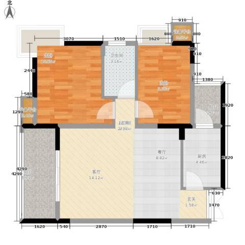 御景天成2室0厅1卫1厨68.00㎡户型图