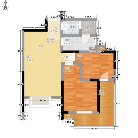 春风城市心筑2室0厅1卫1厨67.00㎡户型图