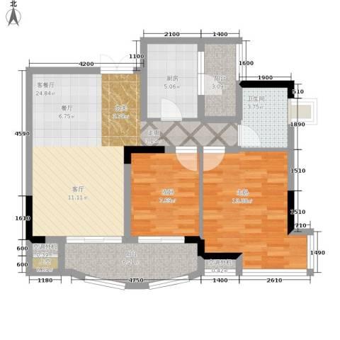 长安麒麟公馆2室1厅1卫1厨69.00㎡户型图