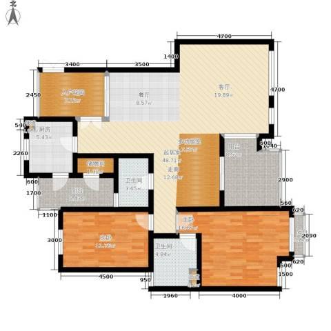 龙湖西苑2室0厅2卫1厨114.59㎡户型图