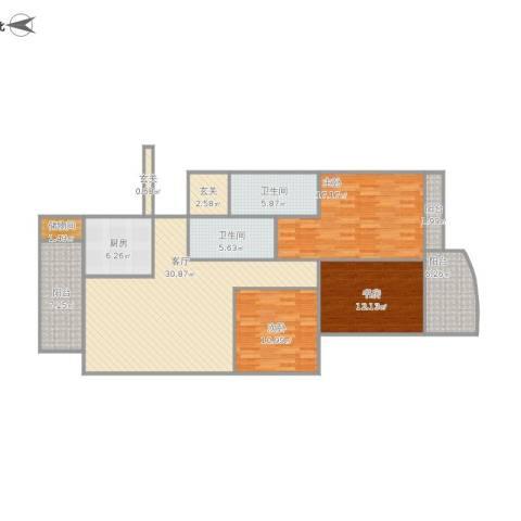 江南翡翠3室1厅2卫1厨148.00㎡户型图