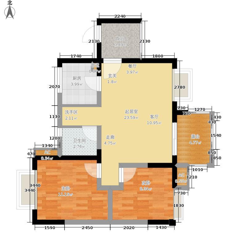 中大君悦金沙花园82.37㎡七期1号楼偶数层D3户型