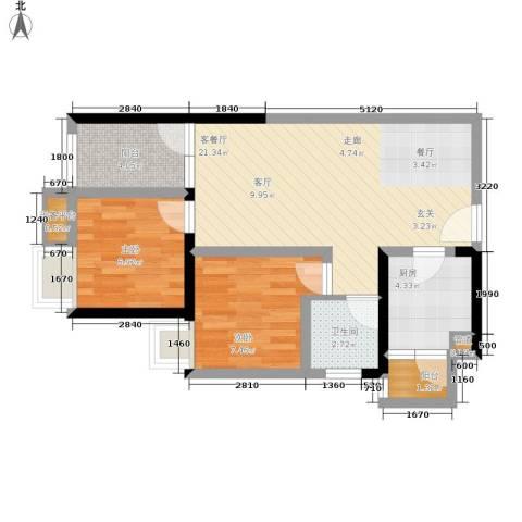 学林佳苑2室1厅1卫1厨73.00㎡户型图