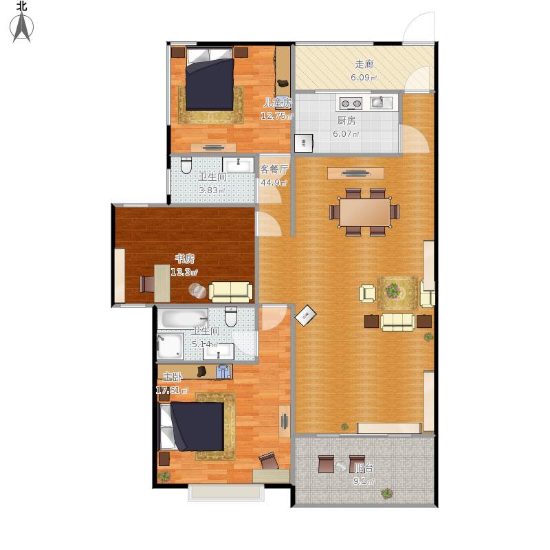 江北乐园9-11号楼130方户型三室两厅