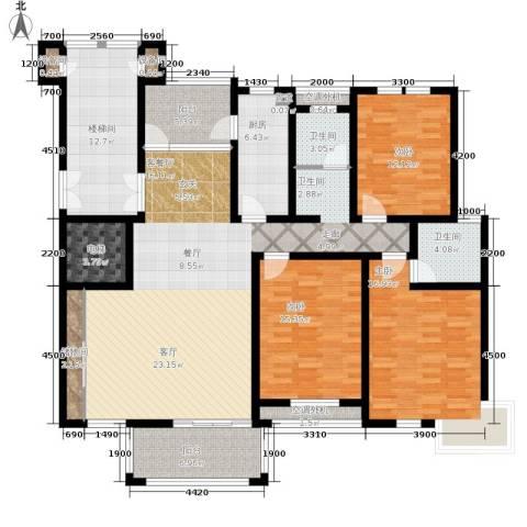 巴国公馆3室1厅2卫1厨158.00㎡户型图