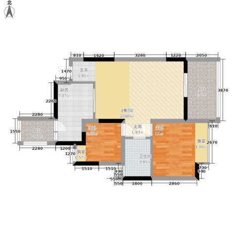 恒大华府2室0厅1卫1厨91.00㎡户型图