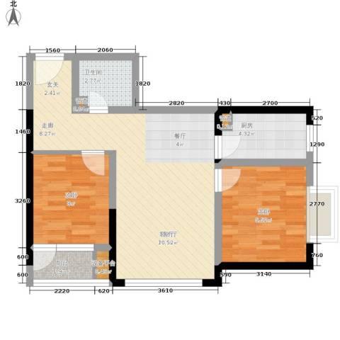 学林佳苑2室1厅1卫1厨77.00㎡户型图