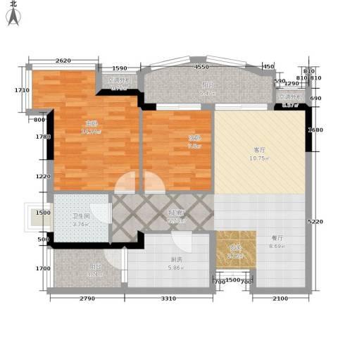 长安麒麟公馆2室1厅1卫1厨70.40㎡户型图