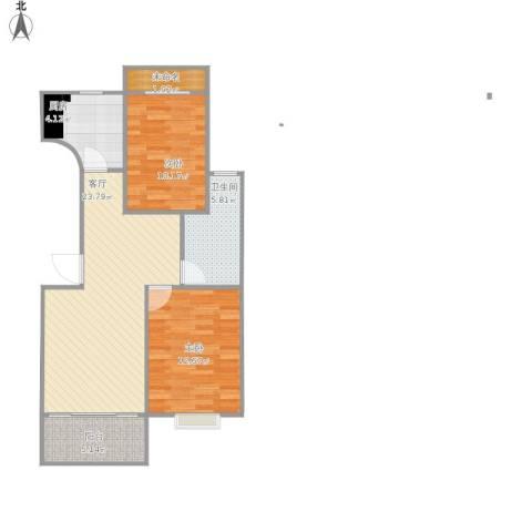 润和花园2室1厅1卫1厨88.00㎡户型图