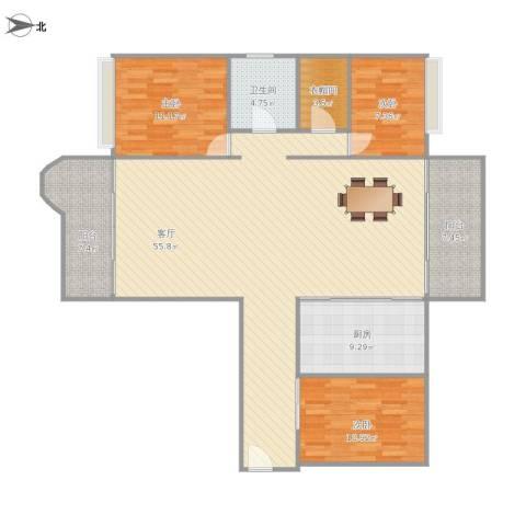雍逸廷汇星台(B区)3室1厅1卫1厨158.00㎡户型图