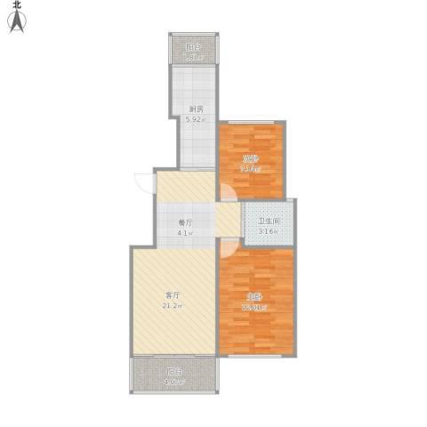 广博苑2室1厅1卫1厨75.00㎡户型图