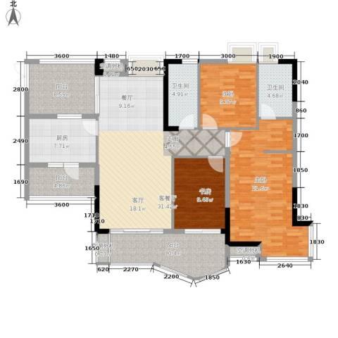 长安麒麟公馆3室1厅2卫1厨114.78㎡户型图