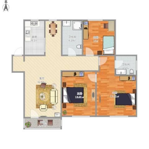 中国铁建梧桐苑3室1厅2卫1厨126.00㎡户型图