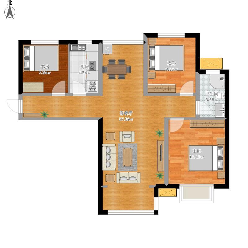 112平方B1-01户三室两厅