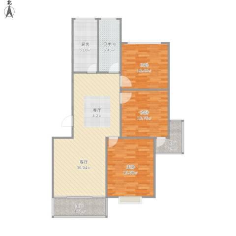 华阳佳园3室1厅1卫1厨113.00㎡户型图