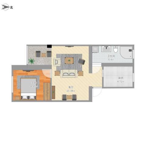 滨河西里1室1厅1卫1厨57.00㎡户型图