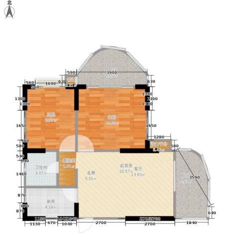 半岛利园2室0厅1卫1厨69.00㎡户型图
