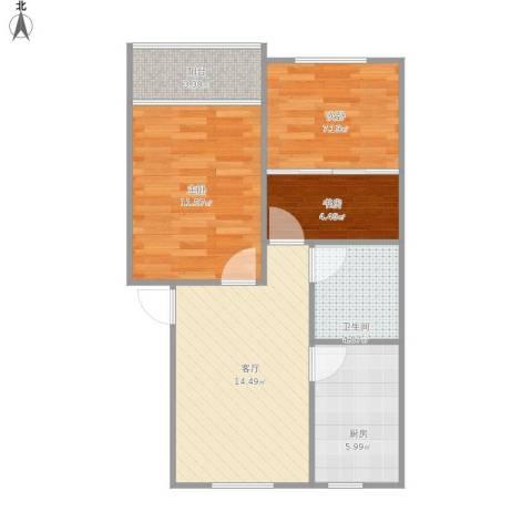 仁和花苑3室1厅1卫1厨70.00㎡户型图