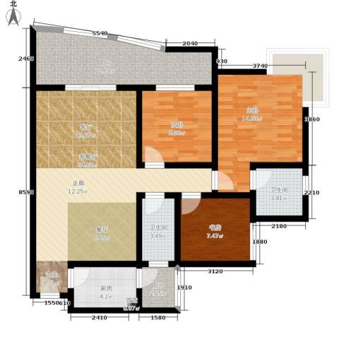 金福花园3室1厅2卫1厨106.00㎡户型图