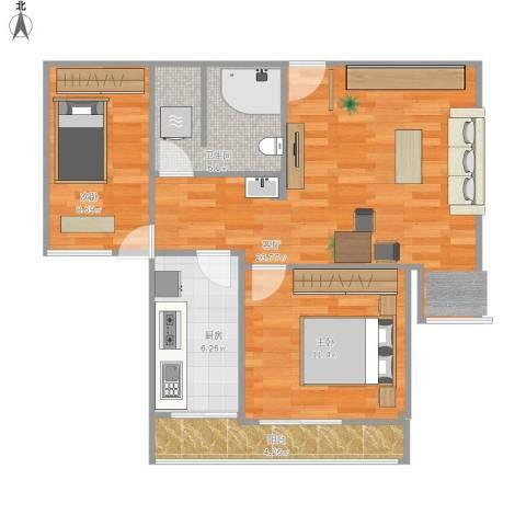 民族园9号院2室1厅1卫1厨82.00㎡户型图