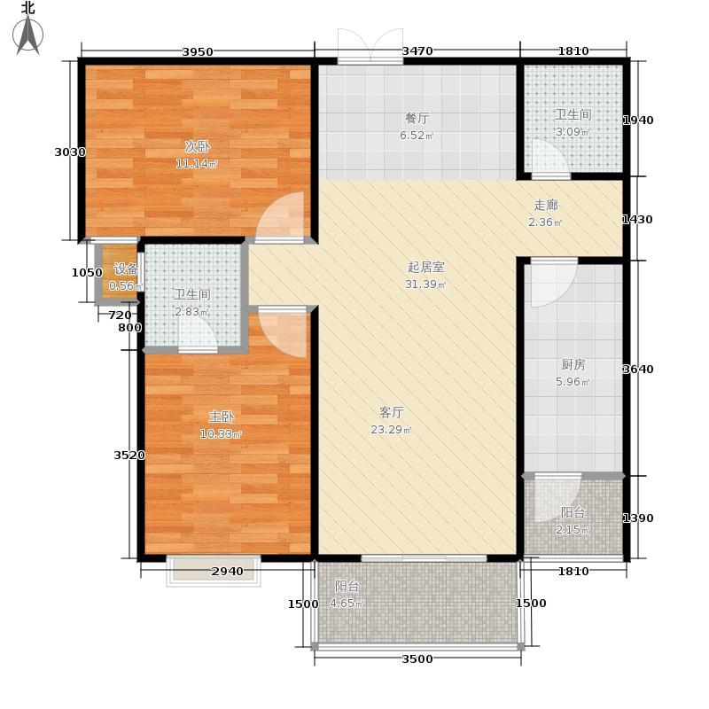 华府西城港湾96.40㎡21#3/4号房户型2室2厅