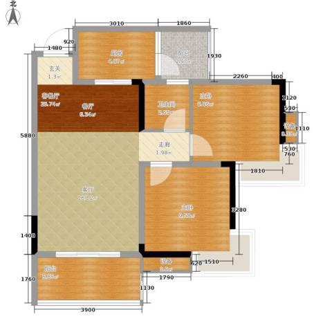 彩云小城2室1厅1卫1厨63.00㎡户型图