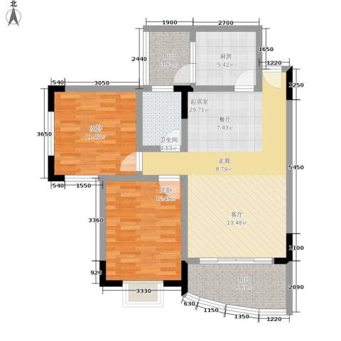 云辉丽都2室0厅1卫1厨105.00㎡户型图