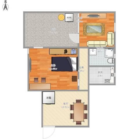 罗山六村2室1厅1卫1厨71.00㎡户型图