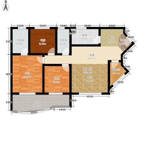 金福花园3室1厅2卫1厨116.00㎡户型图