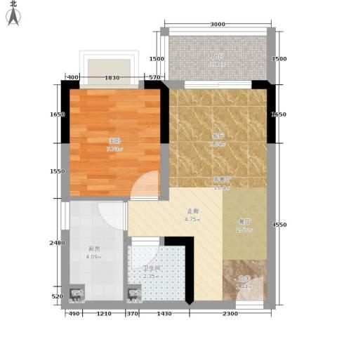 金福花园1室1厅1卫1厨51.00㎡户型图