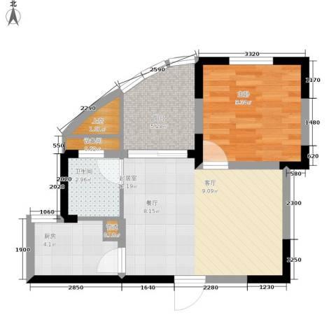 华宇林泉雅舍二期1室0厅1卫1厨60.00㎡户型图