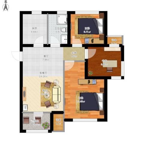 旭辉朗悦湾3室1厅1卫1厨85.00㎡户型图
