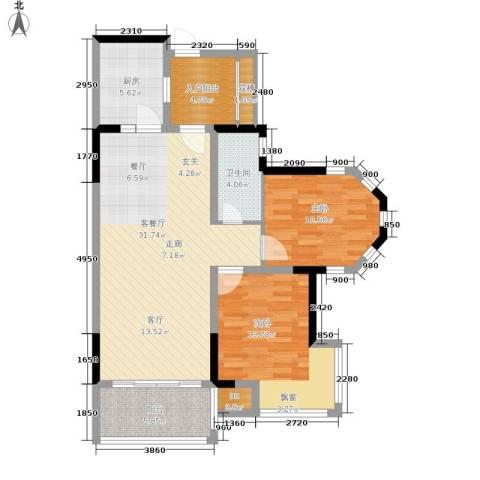 雍晟状元府邸2室1厅1卫1厨112.00㎡户型图
