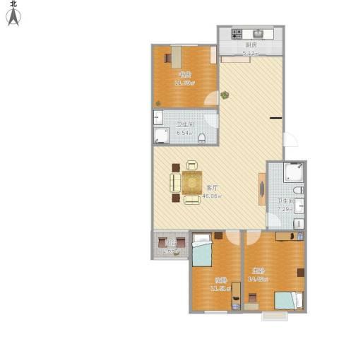 华富家园3室1厅2卫1厨152.00㎡户型图