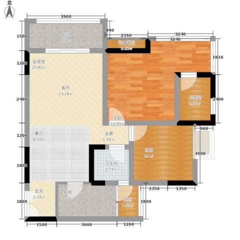富士达锦绣格林2室0厅2卫1厨70.00㎡户型图