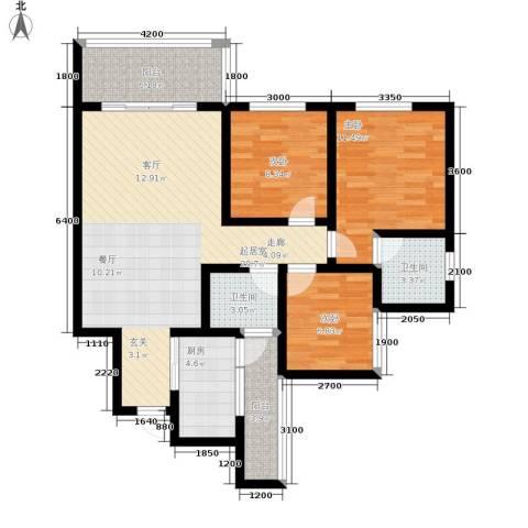 金桥新城3室0厅2卫1厨97.00㎡户型图