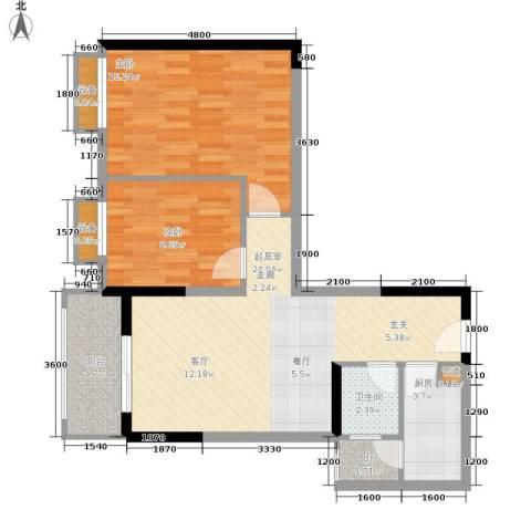 布克公馆2室0厅1卫1厨65.00㎡户型图