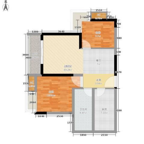 金玉满堂城市花园2室0厅1卫1厨73.00㎡户型图