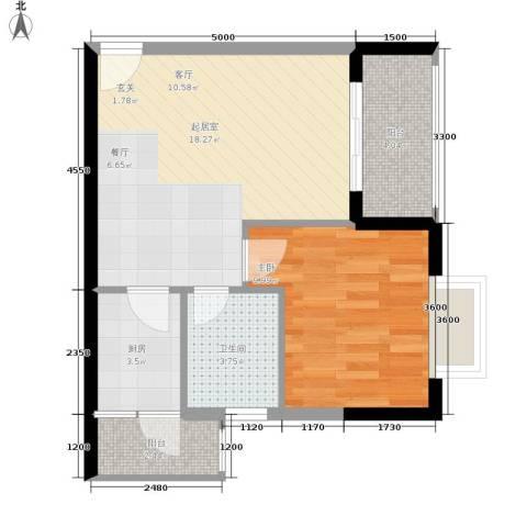 布克公馆1室0厅1卫1厨44.00㎡户型图