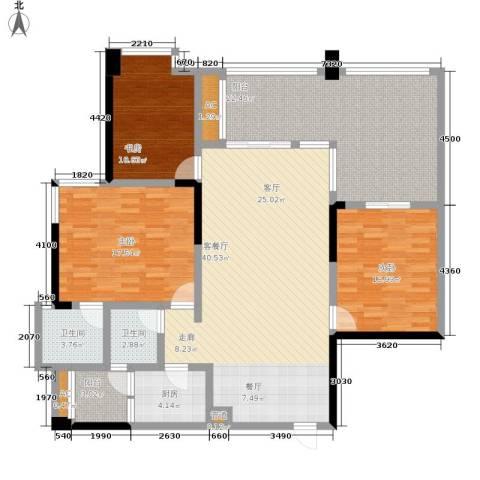 当代城3室1厅2卫1厨120.86㎡户型图