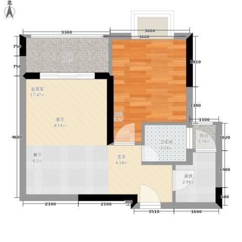 布克公馆1室0厅1卫1厨39.00㎡户型图