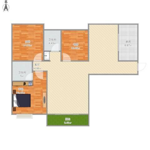 禹洲尊府3室1厅2卫1厨161.00㎡户型图