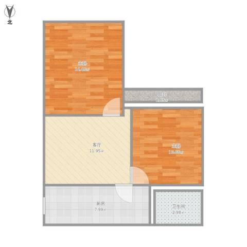 虹纺小区2室1厅1卫1厨67.00㎡户型图